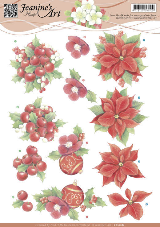 Jeanine`s Art - 3D-knipvel A4 - Red Christmas Flowers - CD10780