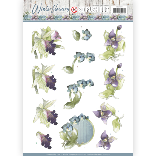 Precious Marieke - (3D-)Stansvel A4 - Winter Flowers - Orchids - SB10299