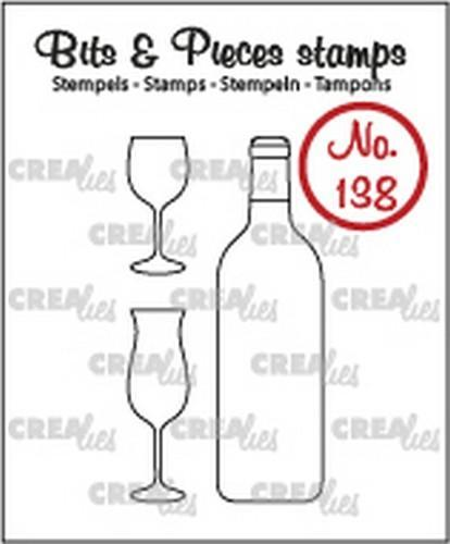 Crealies - Clearstamp - Bits & Pieces - No. 138 - Bottle of wine & glasses - CLBP138
