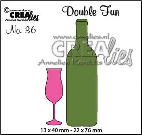 Crealies - Die - Double Fun - Champagne flute + small bottle - CLDF36