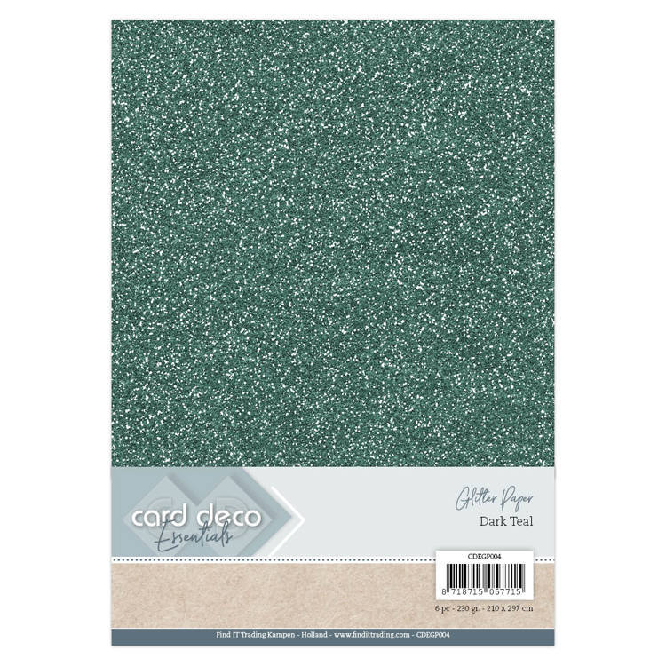 Card Deco - Essentials - Glitter Paper: Dark Teal - CDEGP004