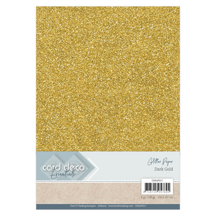 Card Deco - Essentials - Glitter Paper: Dark Gold - CDEGP017