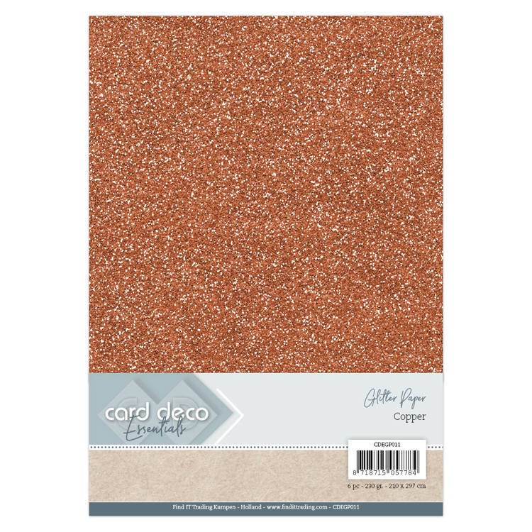 Card Deco - Essentials - Glitter Paper: Copper - CDEGP011