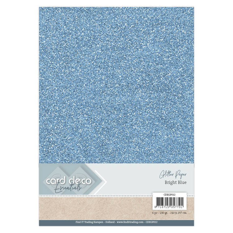 Card Deco - Essentials - Glitter Paper: Bright Blue - CDEGP012