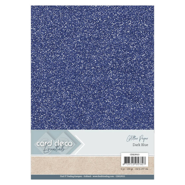 Card Deco - Essentials - Glitter Paper: Dark Blue - CDEGP013