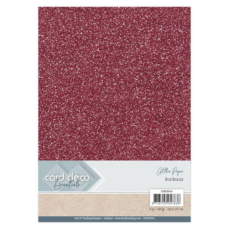 Card Deco - Essentials - Glitter Paper: Bordeaux - CDEGP016
