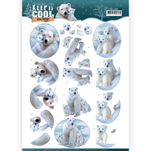 Amy Design - 3D-knipvel A4 - Keep it Cool - Cool Polar Bears - CD11202
