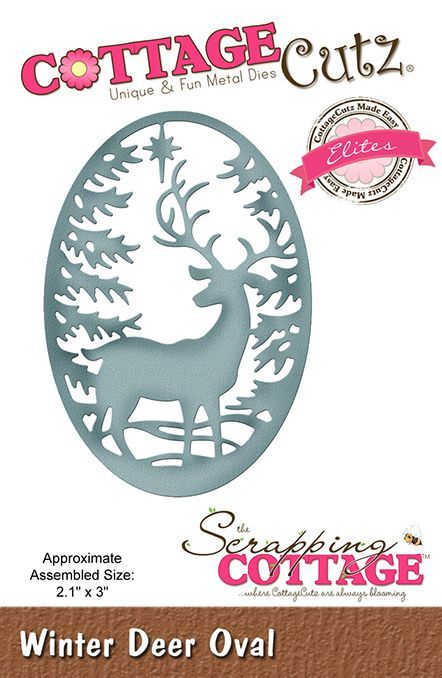 Cottage Cutz - Die - Winter Deer Oval - CCE-528