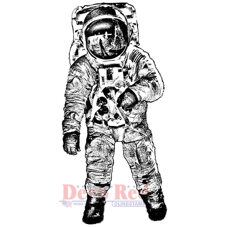 Deep Red - Cling Stamp - Man on the moon - 3X405703