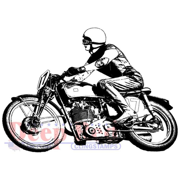 Deep Red - Cling Stamp - Motorcycle Racer - 3X505709