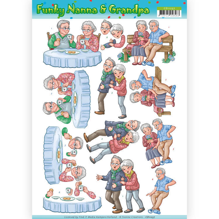 Yvonne Creations - 3D-knipvel A4 - Funky Nanna & Grandpa - Happy Together - CD11237