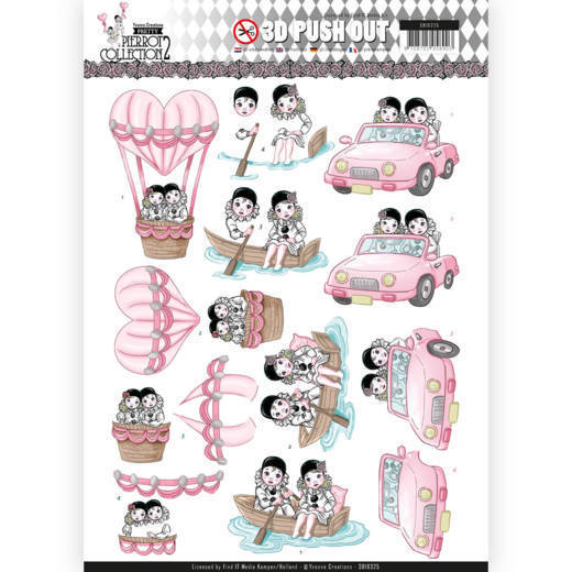 Yvonne Creations - (3D-)Stansvel A4 - Pretty Pierrot 2 - Car Trip - SB10325