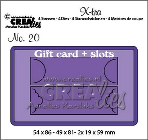 Crealies - Die - X-tra - No. 20 - Giftcard + slots - CLXtra20