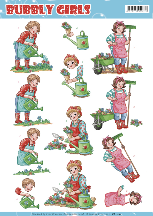 Yvonne Creations - 3D-knipvel A4 - Bubly Girls Gardening - CD11241