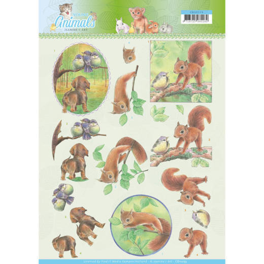 Jeanine`s Art - 3D-knipvel A4 - Young Animals - In the Forest - CD11273