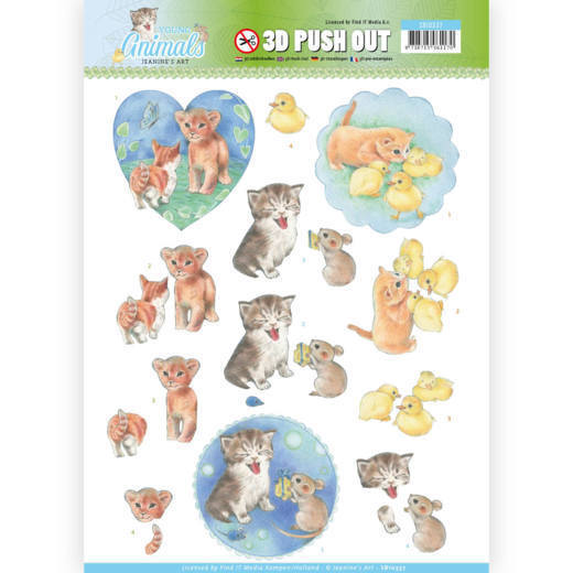 Jeanine`s Art - (3D-)Stansvel A4 - Young Animals - Kittens - SB10337
