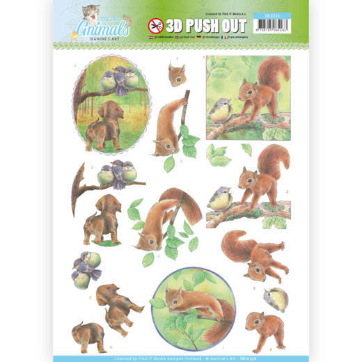 Jeanine`s Art - (3D-)Stansvel A4 - Young Animals - In the forest - SB10336