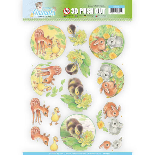 Jeanine`s Art - (3D-)Stansvel A4 - Young Animals - Ducklings and Rabbits - SB10335
