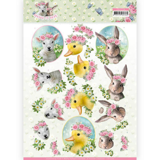 Amy Design - 3D-knipvel A4 - Spring is here - Baby Animals - CD11276