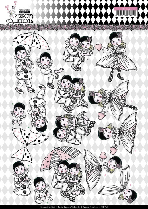 Yvonne Creations - 3D-knipvel A4 - Pierrot Collection 2 - Under the Umbrella - CD11253