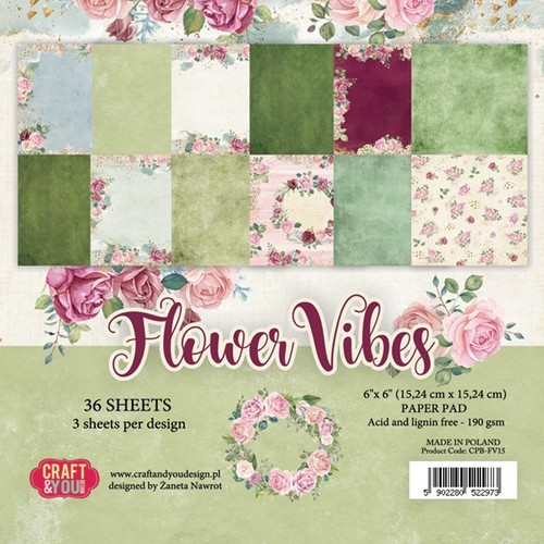 Craft & You Design - Paperpack - 152 x 152mm - Flower Vibes - CPB-FV15