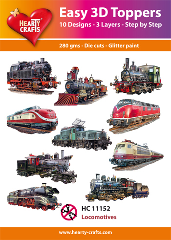 Hearty Crafts - Easy 3D Toppers - Locomotives - HC11152