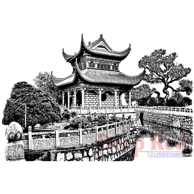 Deep Red - Cling Stamp - Chinese Garden - 4X605719
