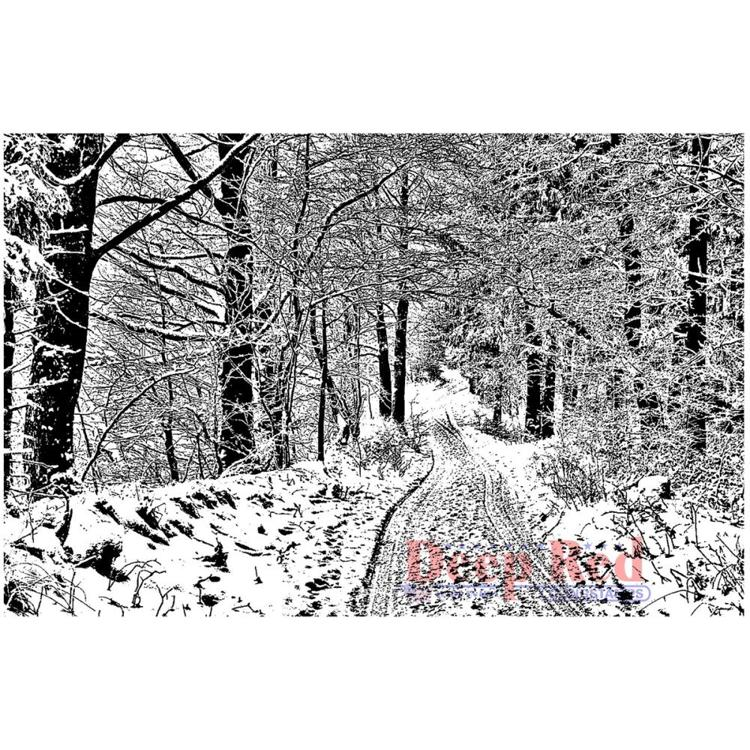 Deep Red - Cling Stamp - Snowy Path - 5X705725