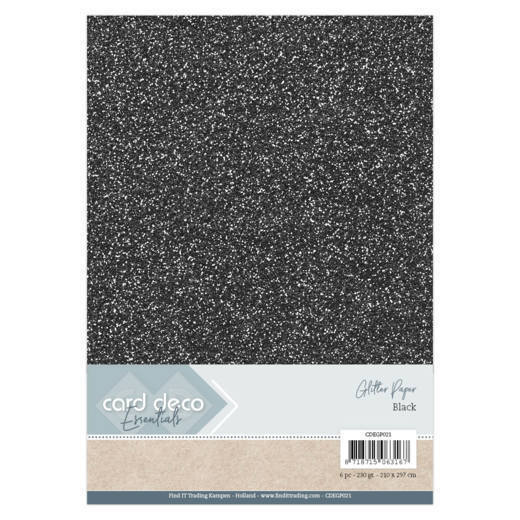Card Deco - Essentials - Glitter Paper: Zwart - CDEGP021
