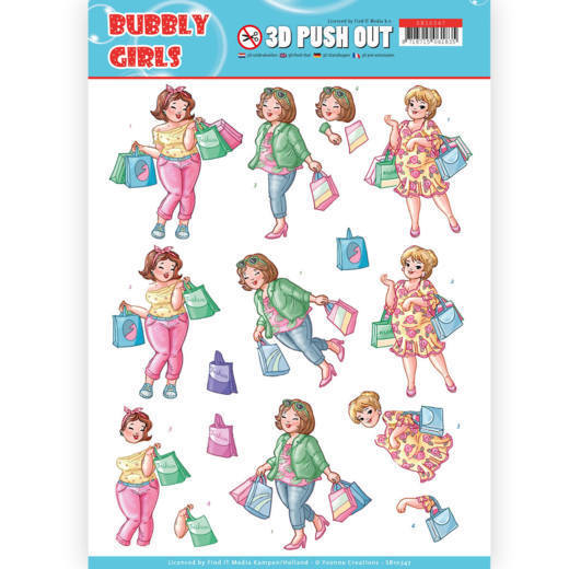 Yvonne Creations - (3D-)Stansvel A4 - Bubbly Girls - Shopping - SB10347
