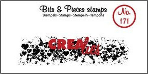 Crealies - Clearstamp - Bits & Pieces - Grunge hearts (strip) - CLBP171