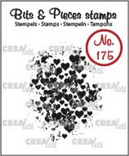 Crealies - Clearstamp - Bits & Pieces - Grunge hearts - CLBP175