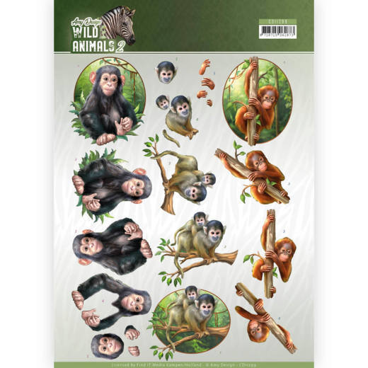 Amy Design - 3D-knipvel A4 - Wild Animals 2 - Monkeys - CD11299