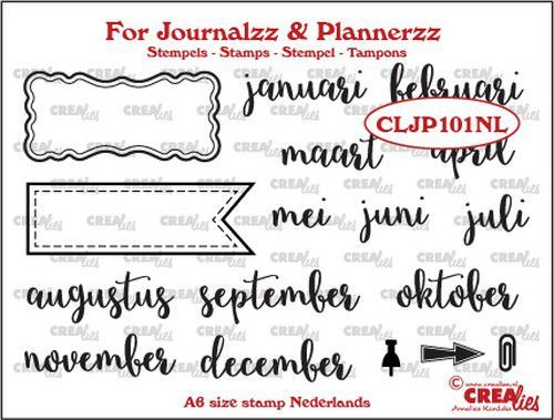 Crealies - Clearstamp - For Journalzz & Plannerzz - Maanden - CLJP101NL