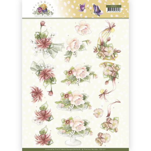 Precious Marieke - 3D-knipvel A4 - Blooming Summer - Sweet Summer Flowers - CD11311