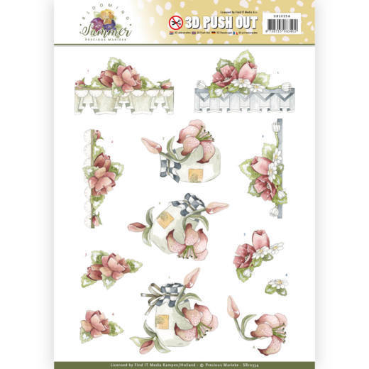 Precious Marieke - (3D-)Stansvel A4 - Blooming Summer - Red Summer Flowers - SB10354