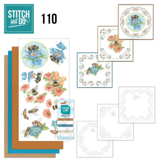 Card Deco - Kaartenpakket - Stitch & Do No. 110 - Bees and Flowers - STDO110
