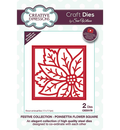 Creative Expressions - Die - The Festive Collection - Poinsettia Flower Square - CED3179