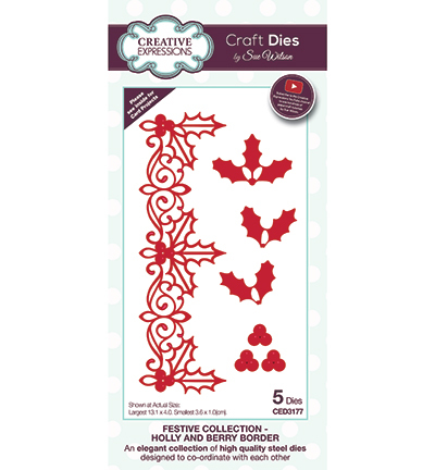 Creative Expressions - Die - The Festive Collection - Holly and Boder - CED3177