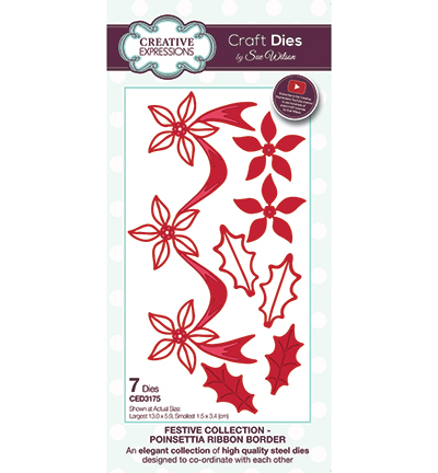 Creative Expressions - Die - The Festive Collection - Poinsettia Ribbon Border - CED3175