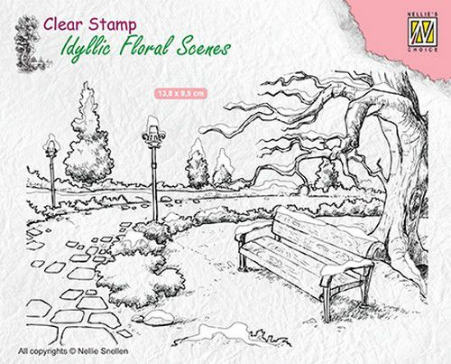 Nellie Snellen - Clearstamp - Idyllic Floral Scenes - Wintery park with bench - IFS016