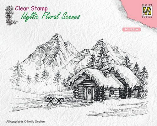 Nellie Snellen - Clearstamp - Idyllic Floral Scenes - Snowy landscape with cottage - IFS015