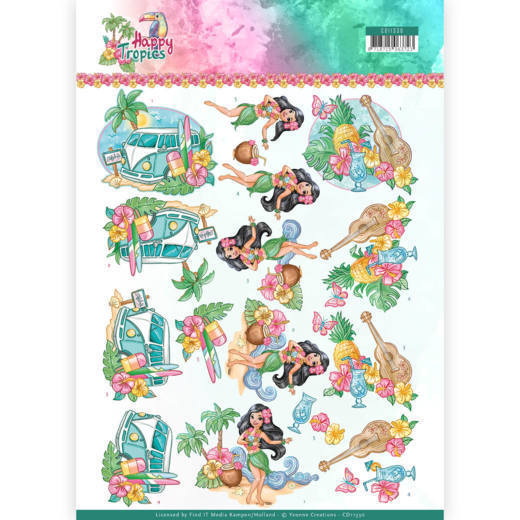 Yvonne Creations - 3D-knipvel A4 - Happy Tropics - Tropical Holiday - CD11330