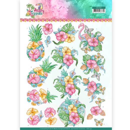 Yvonne Creations - 3D-knipvel A4 - Happy Tropics - Tropical Flower - CD11331
