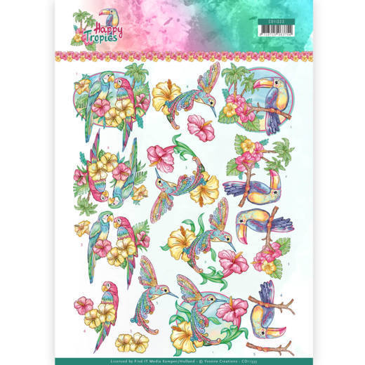 Yvonne Creations - 3D-knipvel A4 - Happy Tropics - Exotic Birds - CD11333