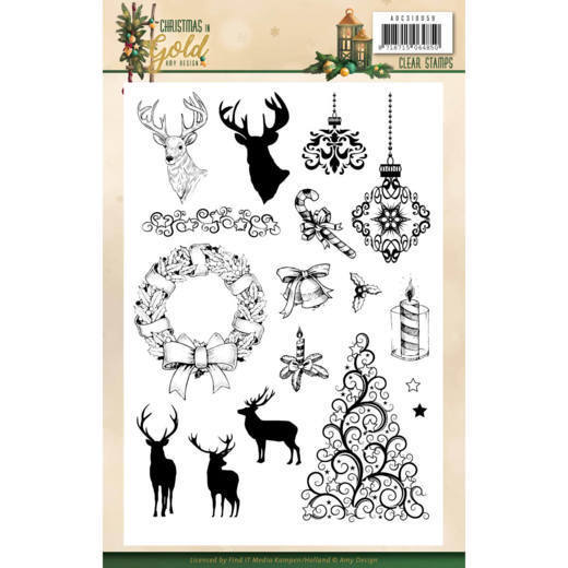Amy Design - Clearstamp - Christmas in Gold - ADCS10059