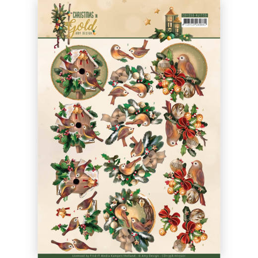 Amy Design - 3D-knipvel A4 - Christmas in Gold - Birds in Gold - CD11358