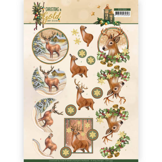 Amy Design - 3D-knipvel A4 - Christmas in Gold - Deers in Gold - CD11359