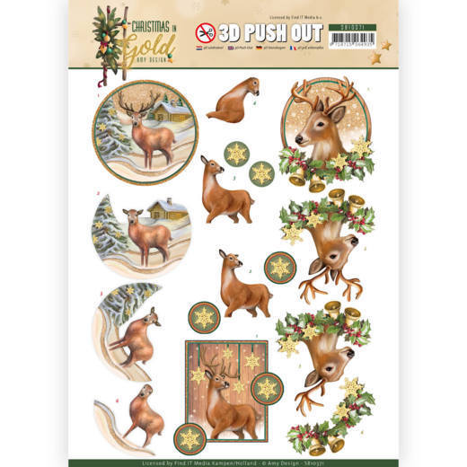 Amy Design - (3D-)Stansvel A4 - Christmas in Gold - Deers in Gold - SB10371