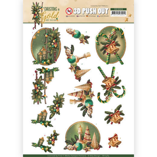 Amy Design - (3D-)Stansvel A4 - Christmas in Gold - Lanterns in Gold - SB10369